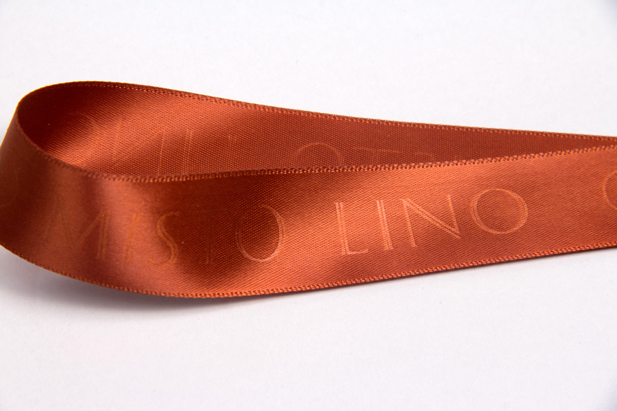 Custom Printed Satin Ribbon with Hot Stamp printing - Misto Lino