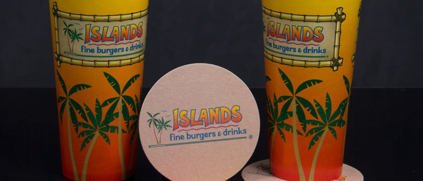 Custom 4 Color Process Printed Cups and Matching Coasters - Islands Restaurants