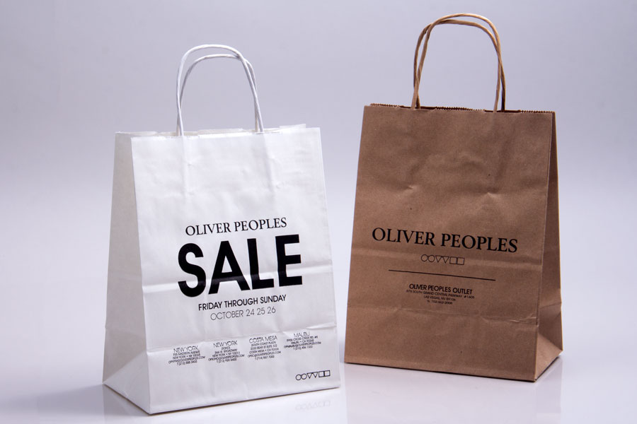 Semi-Custom Ink Print Paper Shopping bags - Oliver Peoples