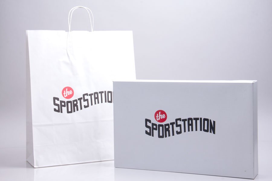 Semi-Custom 2 Color Ink Print Apparel Box and Shopping Bag - Sports Station
