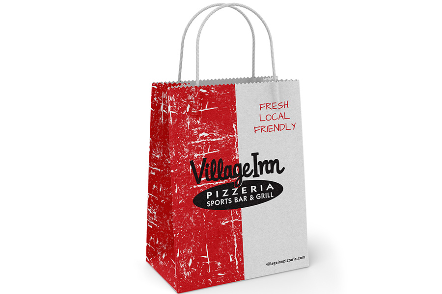 Design Services -  Village Pizzeria Ink Printed Paper Shopping Bag