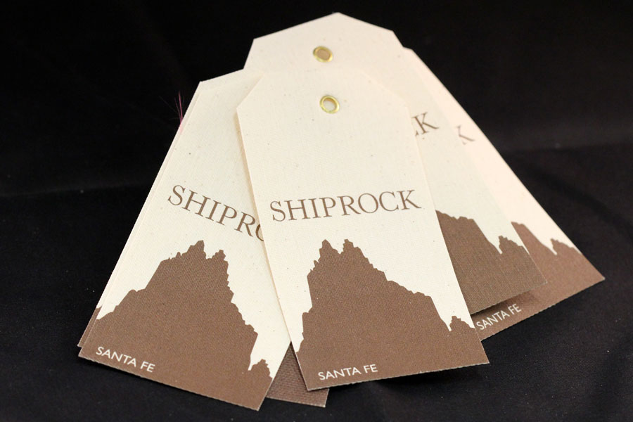 Custom Printed Canvas Hang Tags with Gold Grommets - Shiprock Santa Fe