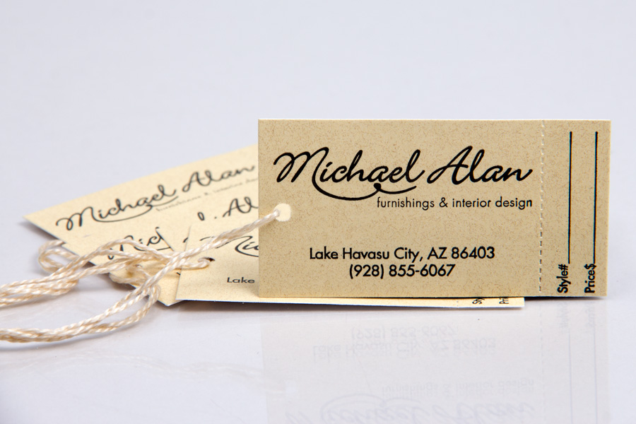 Custom Printed Hang Tags with matching string - Michael Alan