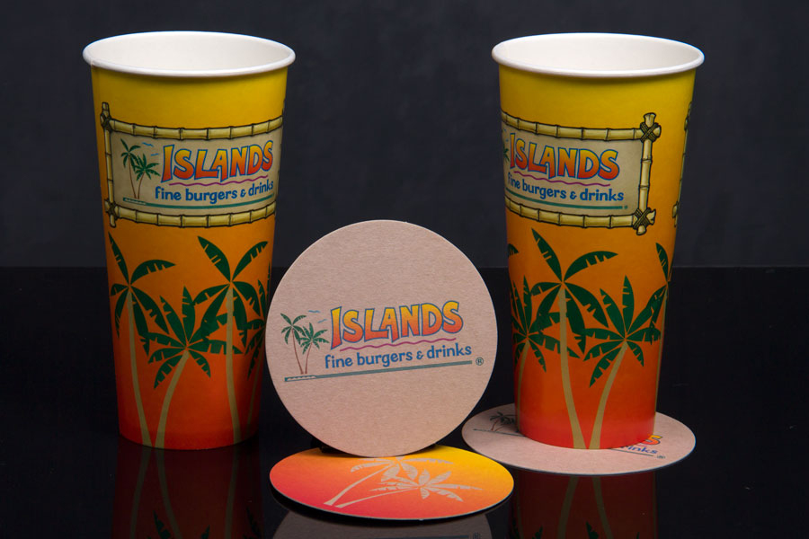 Custom Printed Cups Coasters and Napkins