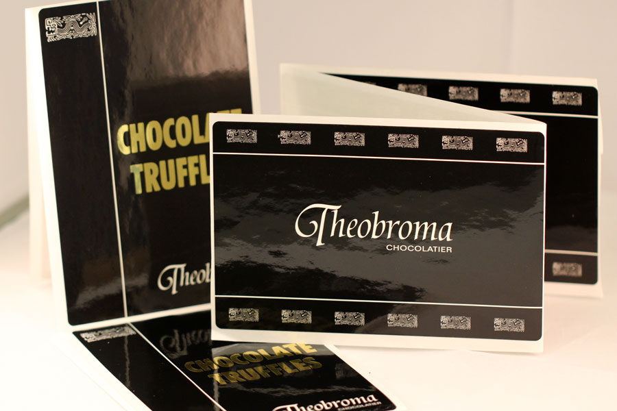 Custom Printed Hot Stamped Labels - Theobroma Chocolatier