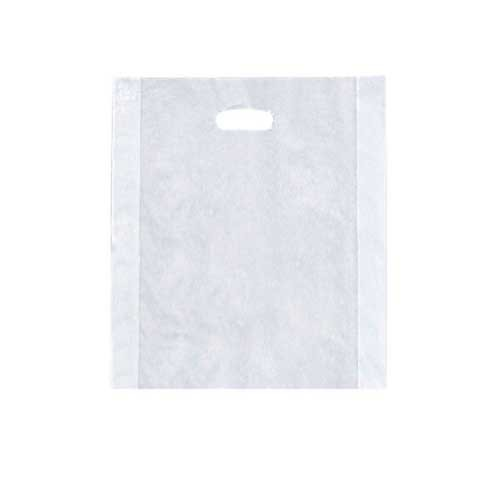 Die cut handle 3 mil plastic bag with pinched bottom