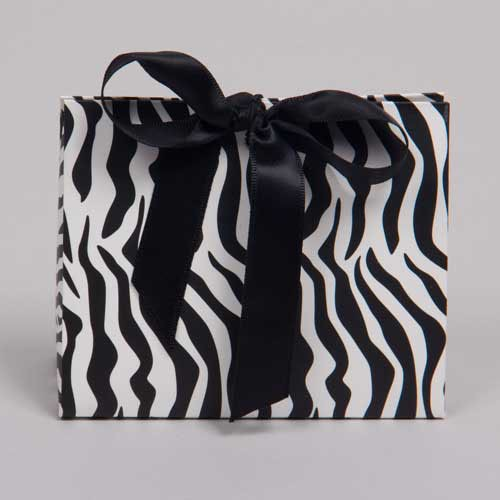 4.5 x 2 x 3.75 ZEBRA PRINT RIBBON TIED PURSE BOXES