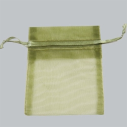 4 x 5 OLIVE GREEN SHEER ORGANZA POUCHES