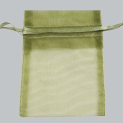 5 x 6.5 OLIVE GREEN SHEER ORGANZA POUCHES