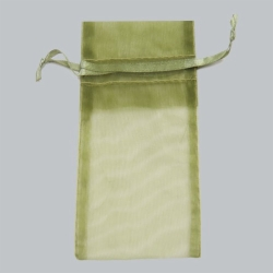 6 x 14 OLIVE GREEN SHEER ORGANZA POUCHES