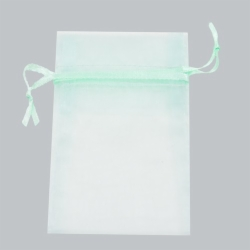 5.5 x 9 PASTEL GREEN SHEER ORGANZA POUCHES