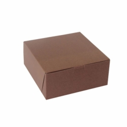 8 x 8 x 3 CHOCOLATE ONE-PIECE BAKERY BOXES