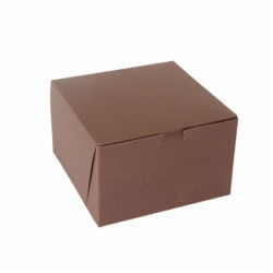 8 x 8 x 5 CHOCOLATE ONE-PIECE BAKERY BOXES