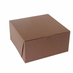 10 x 10 x 5 CHOCOLATE ONE-PIECE BAKERY BOXES