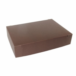 19 x 14 x 4 (1/2 SHEET) CHOCOLATE ONE-PIECE BAKERY/CUPCAKE BOXES