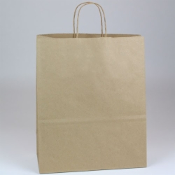 13 x 6 x 15.75 NATURAL KRAFT PAPER SHOPPING BAGS - RECYCLED