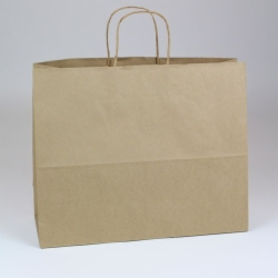 16 x 6 x 13 NATURAL KRAFT PAPER SHOPPING BAGS - RECYCLED