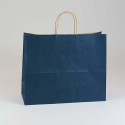 16 x 6 x 13 NAVY BLUE MATTE SHADOWSTRIPE PAPER BAGS ***LIMITED AVAILABILITY***