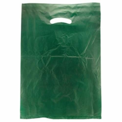 12 x 3 x 18 DARK GREEN SATIN HIGH DENSITY PLASTIC BAGS
