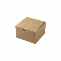 5 x 5 x 3 NATURAL KRAFT PINSTRIPE TUCK-TOP GIFT BOXES