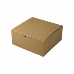 8 x 8 x 3.5 NATURAL KRAFT PINSTRIPE TUCK-TOP GIFT BOXES