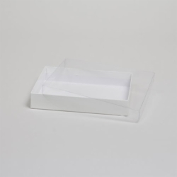 9-5/8 x 6-3/8 x 1-5/8 WHITE GLOSS CLEAR TOP GIFT BOXES