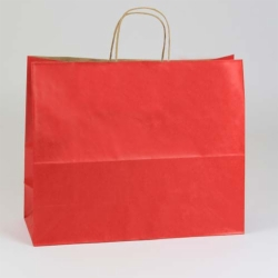 16 x 6 x 13 REALLY RED MATTE SHADOWSTRIPE PAPER BAGS