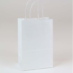 5.75 x 3.25 x 8.37 WHITE KRAFT PAPER SHOPPING BAGS - RECYCLED