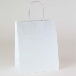 8 x 4.75 x 10.5 WHITE KRAFT PAPER SHOPPING BAGS