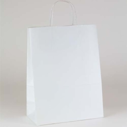 10 x 5 x 13.5 ECONOMY WHITE KRAFT PAPER SHOPPING BAGS
