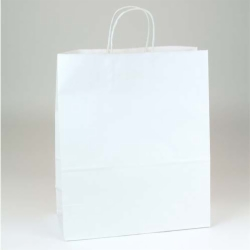 13 x 6 x 15.75 WHITE KRAFT PAPER SHOPPING BAGS