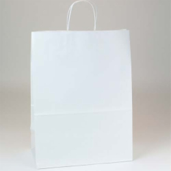 13 x 7 x 17.5 ECONOMY WHITE KRAFT PAPER SHOPPING BAGS