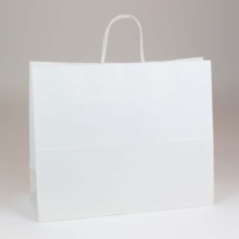 16 x 6 x 12.5 WHITE KRAFT PAPER SHOPPING BAGS - 100% RECYCLED