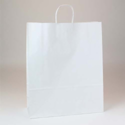 16 x 6 x 19.25 WHITE KRAFT PAPER SHOPPING BAGS