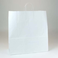 18 x 7 x 18.75 ECONOMY WHITE KRAFT PAPER SHOPPING BAGS