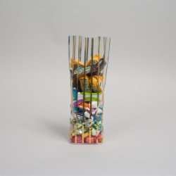3.25 x 2 x 12 GOLD STRIPED CLEAR PLASTIC CANDY BAGS