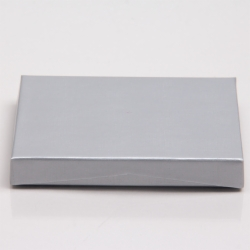 4-5/8 x 3-3/8 x 5/8 SILVER LINEN GIFT CARD BOX WITH BLACK POP-UP INSERT