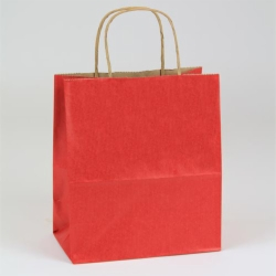16 X 6 X 19 REALLY RED MATTE SHADOWSTRIPE PAPER BAGS