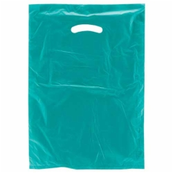 12 x 15 TEAL SATIN HIGH DENSITY PLASTIC BAGS