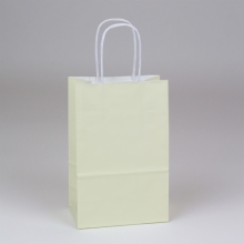5.25 x 3.5 x 8.25 VANILLA PAPER SHOPPING BAGS - 100% RECYCLED