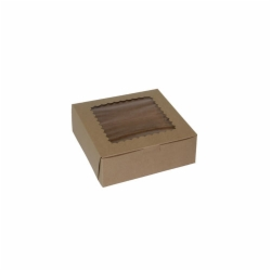 7 x 7 x 2.5 NATURAL KRAFT WINDOWED CUPCAKE BOXES