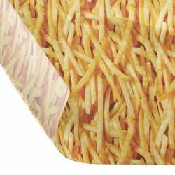 12 x 12 FOOD SAFE TISSUE BASKET LINERS 18# DRY WAX - FRIES PRINT
