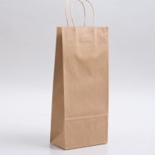 5.75 x 3.25 x 13 NATURAL KRAFT PAPER SHOPPING BAGS - 100% RECYCLED