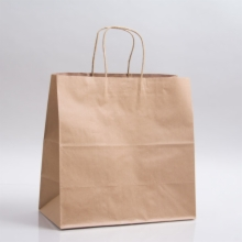 11.8 x 9.5 x 12 NATURAL KRAFT PAPER SHOPPING BAGS - 100% RECYCLED