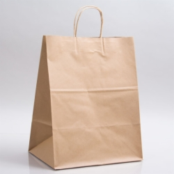 12 x 9 x 15.75 NATURAL KRAFT PAPER SHOPPING BAGS - 100% RECYCLED