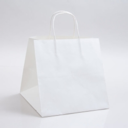 10 x 10 x 10 WHITE KRAFT PAPER SHOPPING BAGS - 100% RECYCLED