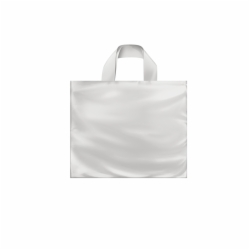 12 x 10 x 4 CLEAR FROSTED SOFT LOOP HANDLE PLASTIC BAGS