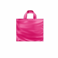 12 x 10 x 4 HOT PINK FROSTED SOFT LOOP HANDLE PLASTIC BAGS