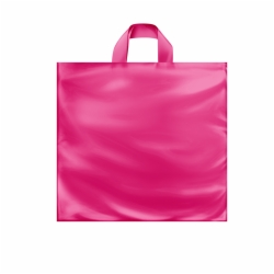 16 x 15 x 6 HOT PINK FROSTED SOFT LOOP HANDLE PLASTIC BAGS
