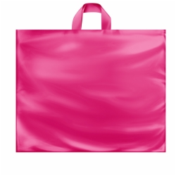 22 x 18 x 8 HOT PINK FROSTED SOFT LOOP HANDLE PLASTIC BAGS